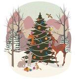 Animales lindos en el bosque del invierno ilustración del vector