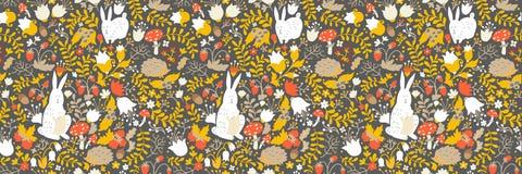 Animales lindos en modelo inconsútil del bosque mágico Ejemplos del vector del conejo y del erizo para el bebé stock de ilustración