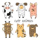 Animales lindos fijados Foto de archivo libre de regalías