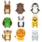 Animales lindos Los niños diseñan, los elementos aislados del diseño, vector Fauna del kawaii de la historieta y animales african Imagenes de archivo