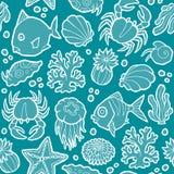 Animales marinos y plantas del modelo inconsútil del vector Imagen de archivo