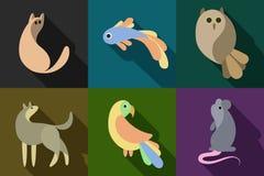 Animales planos del estilo fijados Foto de archivo libre de regalías