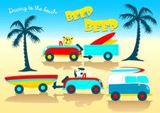 Animales que conducen a la señal sonora de la señal sonora de la playa ilustración del vector