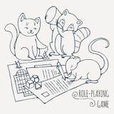 Animales que juegan al juego de rol del tablero ilustración del vector