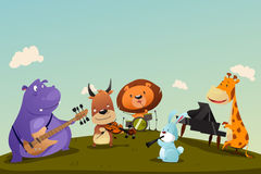 Animales que tocan el instrumento de música en una banda ilustración del vector