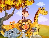 Animales salvajes cerca del árbol grande libre illustration