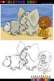 Animales salvajes del safari para el colorante stock de ilustración