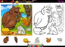 Animales salvajes que colorean el sistema de la página Foto de archivo