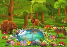 Animales salvajes que vienen a la charca del bosque rodeada por las flores en una atmósfera del cuento de hadas stock de ilustración