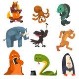 Animales salvajes usando los artilugios sistema, caballo, pulpo, pescado, elefante, cuervo, perro, serpiente, pingüino usando los ilustración del vector