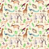 Animales salvajes y pájaros - parque zoológico, fauna - elefante, jirafa, ciervo, búho, loro, otro Modelo inconsútil watercolor stock de ilustración