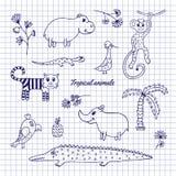 animales tropicales del Mano-drenaje ilustración del vector