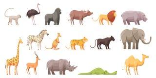 Animales tropicales salvajes fijados libre illustration