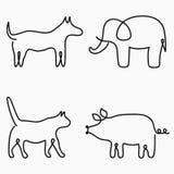 Animales un dibujo lineal Línea continua impresión - gato, perro, cerdo, elefante Ejemplo a mano para el logotipo Vector ilustración del vector