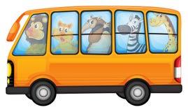 Animales y autobús escolar Imagen de archivo