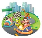 Animales y coches de competición libre illustration