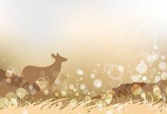 Animales y fauna, arte del papel de los ciervos de la silueta entre la sabana i ilustración del vector