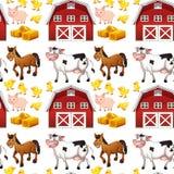 Animales y granero inconsútiles del campo ilustración del vector