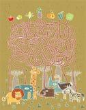 Animales y juego del laberinto de la comida Imagen de archivo libre de regalías
