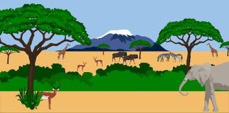 Animali africani nel paesaggio africano royalty illustrazione gratis