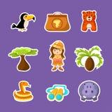 Animali africani, piante, ragazza in Safari Outfit Cute Stickers, Safari Symbols Vector Illustration illustrazione vettoriale