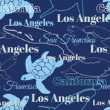 Animali blu delle città di California di viaggio di vettore illustrazione vettoriale