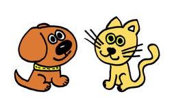 animali - cane e gatto Fotografie Stock Libere da Diritti