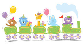 Animali che guidano il treno di compleanno Fotografie Stock Libere da Diritti