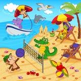Animali che riposano sulla spiaggia Fotografia Stock Libera da Diritti