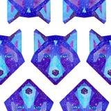 Animali cosmici dell'acquerello Illustrazione disegnata a mano Fotografie Stock