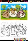 Animali da allevamento del fumetto che colorano pagina Fotografie Stock Libere da Diritti