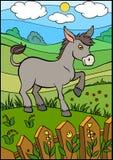 Animali da allevamento del fumetto per i bambini Piccolo asino sveglio Immagini Stock