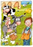 Animali da allevamento dell'agricoltore e della mucca, illustrazione del latte per i bambini, Fotografie Stock