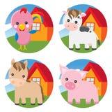 Animali da allevamento - gallo, mucca, cavallo, maiale Fotografie Stock Libere da Diritti