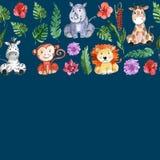 Animali degli amici della giungla dell'acquerello, Africa, foglie tropicali Fotografie Stock Libere da Diritti
