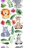Animali degli amici della giungla dell'acquerello, Africa, foglie tropicali Immagine Stock