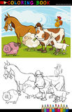 Animali del bestiame e dell'azienda agricola per coloritura Fotografia Stock Libera da Diritti
