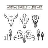 Animali del cranio dell'icona del profilo Fotografie Stock