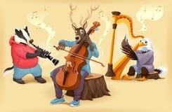 Animali del fumetto del musicista Fotografia Stock