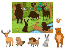 Animali del fumetto della foresta con il vettore delle ombre Fotografia Stock Libera da Diritti