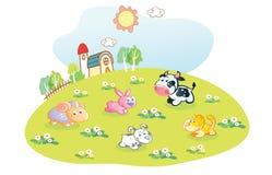 Animali del fumetto nel giardino domestico illustrazione vettoriale