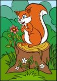 Animali del fumetto per i bambini Piccolo scoiattolo sveglio Fotografia Stock