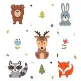 Animali del terreno boscoso con gli elementi disegnati a mano della foresta del fumetto Amico divertente puerile del bambino Illu Fotografie Stock Libere da Diritti
