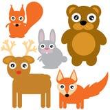 Animali del terreno boscoso messi illustrazione vettoriale