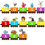 Animali del treno di alfabeto da N alla Z Fotografia Stock