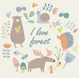 Animali della foresta illustrazione di stock
