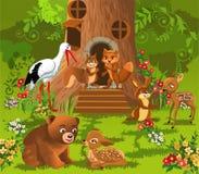 Animali della foresta che vivono nella casa sull'albero Fotografie Stock Libere da Diritti