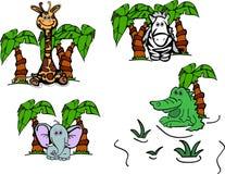Animali della giungla con gli alberi Fotografia Stock Libera da Diritti