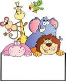 Animali della giungla con la scheda in bianco del segno royalty illustrazione gratis