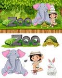 Animali della ragazza e dello zoo di safari royalty illustrazione gratis